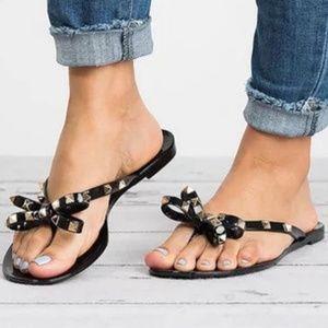 Rivets big bowknot flip flops sandals